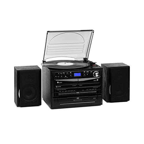auna 388-DAB + Stereo System - 20 W Max, 2 x Speakers, Bluetooth, FM/DAB + Radio Tuner, Turntable, CD Player, MP3 Function, 2 x Cassette Deck, USB, SD Slot, Remote Control, Black