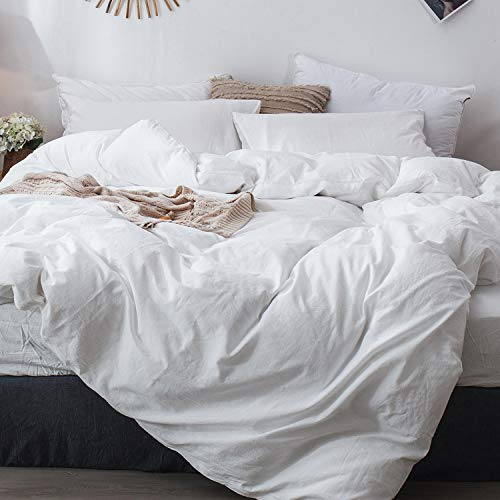 MooMee Duvet Cover Set 100% Washed Cotton Linen Like Soft Breathable Durable 3 Piece Home Bedding Set Solid Off White Queen