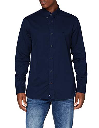 Tommy Hilfiger Herren Fine Twill Shirt Hemd, Carbon Navy, XL