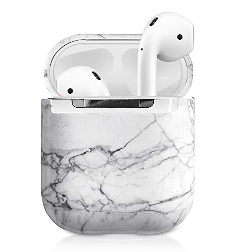 2019 Newest AirPods Case, 360° Marble AirPods Hard Protective Case Accessories Kit Compatiable with Apple AirPods 1st/2nd Charging Case White