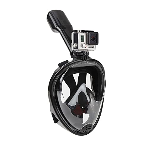 Sea Snorkel Mask Full Face, Snorkeling Mask 180 Panoramic View Anti-Fog Anti-Leak Dry Top Set with Detachable Camera Mount,Diving Mask for Kids and Adults,Safe Breathing,Adjustable Straps (black*1)