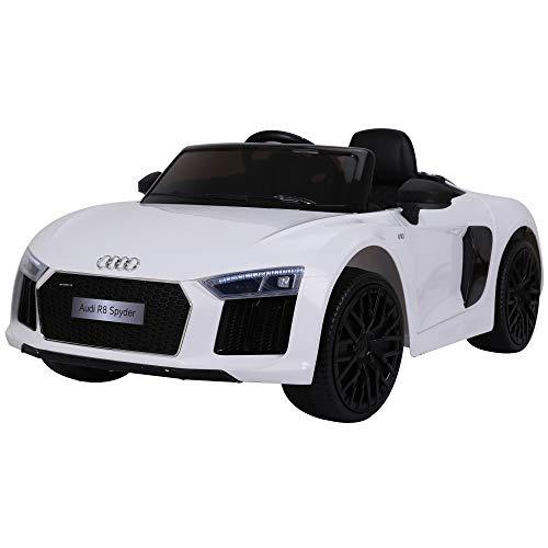 HOMCOM Coche Eléctrico para Niño Mayores de 3 años Audi R8 con Mando a Distancia MP3 USB Luces y Sonidos Apertura de Puerta 123x71x49cm Carga 30kg