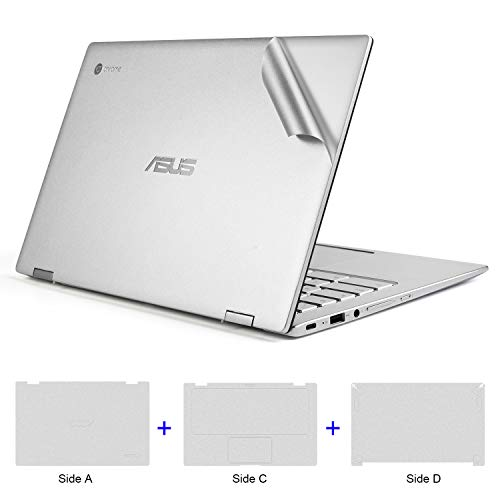 Lapogy Full Body Protector Sticker Decal Protective Laptop Cover Skin for ASUS Chromebook Flip C434TA-DSM4T 2-in-1 Laptop 14 inch,for C433TA/C425TA/C434TA,ASUS C434TA Accessories(Silver)