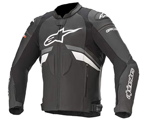 Alpinestars Men's GP Plus R v3 Leather Motorcycle Jacket, Black/Dark Gray/White, 50