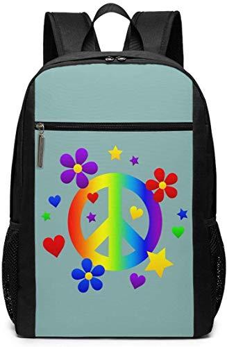 Lawenp Peace Sign Unisex Backpacks 17 Inch School Bookbag Shoulder Bag Casual Daypack Laptop Bag Peace Sign
