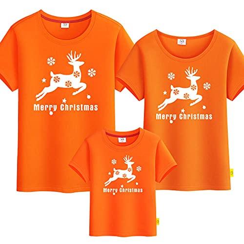 SANDA T-Shirt Hombre,Vestido para Padres y nios de Navidad, una Familia de Tres Puertos, Cuatro aos, Camiseta de Manga Corta-Naranja_Pap l