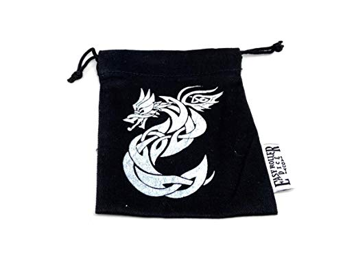 Small Cotton Twill Dice Bag - Celtic Knot Dragon Design - Holds 40 16mm Dice