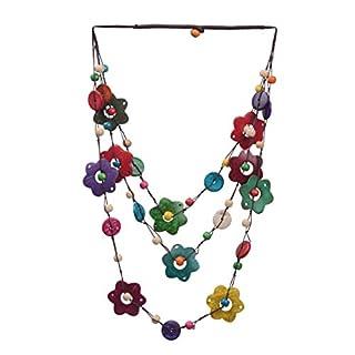 scheda supvox 1pc collana della boemia lunga collana boho tre strati conchiglia di cocco perline fiore collana pendente dell ornamento della catena per le donne ragazze donne