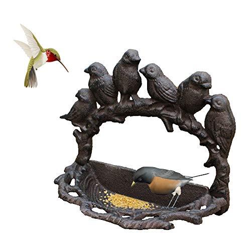 TentHome Vogelfutterhaus Wand Vögel Futterstation Vogeltränke Futterhaus Futterstelle Antik Wassertränke Futterpavillon für Balkon Garten Wanddeko Gusseisen (Rost)
