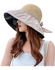 レディース 日よけ帽子 ハット UVカット UPF50+ 麦わら帽子 ストローハット つば広 帽子 黒いコーティング uv帽 アウトドア帽子 キャップ 日焼け防止 あご紐付き リボン 折りたたみ可能 レディースハット 小顔効果 熱中症予防 フリーサイズ
