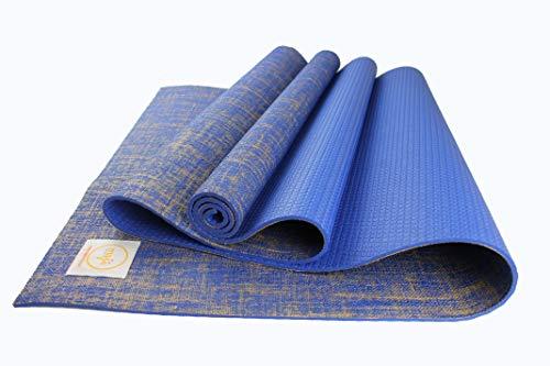 Maji Sports - Esterilla de yoga de yute, color azul, tamaño 24 x 68 x 4.5mm, 68 x 24 x 0.25inches