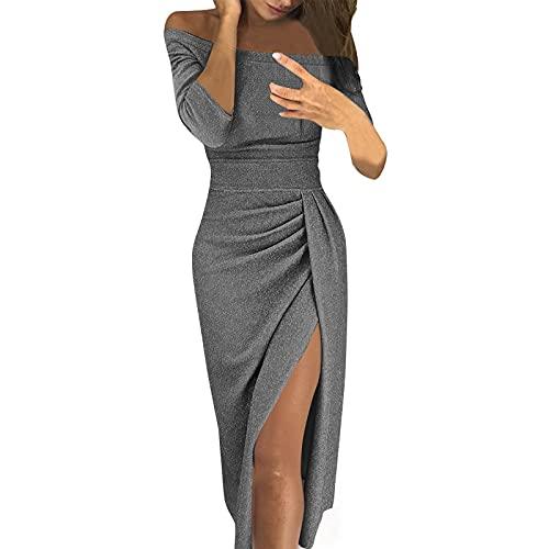 Liably Vestido de noche para mujer, elegante, con hombros descubiertos, temperamental, sexy, de manga larga, de talle alto, delgado, de un solo color, para el tiempo libre., gris, XL