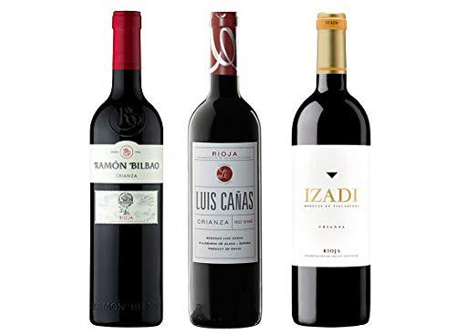 Pack Mysecretwine Los Mejores Crianzas de Rioja. 1 Ramón Bilbao Crianza, 1 Izadi Crianza y 1 Luis Cañas Crianza