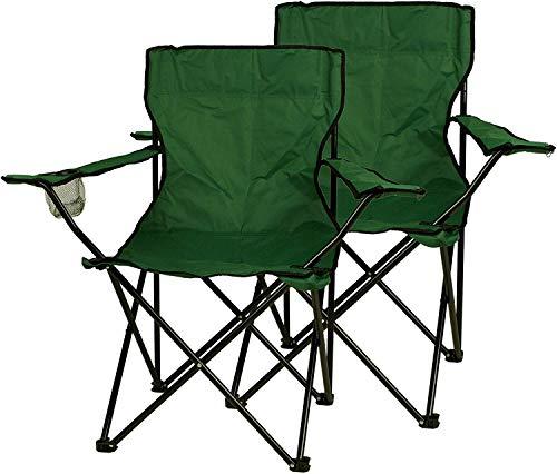 Nexos 2-er Set Angelstuhl Anglerstuhl Faltstuhl Campingstuhl Klappstuhl mit Armlehne und Getränkehalter praktisch robust leicht dunkelgrün