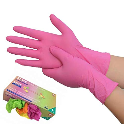 Disposable Gloves Nitrile Pink Orange Green Yellow Color Food Handle or Industrial Use Cleaning Gloves Powder Free Latex Free 100 Count (M)
