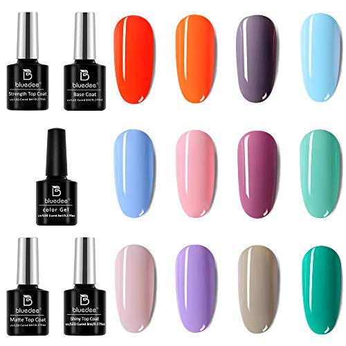 Bluedee Gel Nail Polish Kit, 12 Colors & 1 Base & 3 Top Coats (No Wipe, Glossy & Matte & Glitter), Lavender Light-Brown Grey Clear-Pink Neon-Orange Turquoise Mint-Green Baby-Blue Pastel Gift for Women