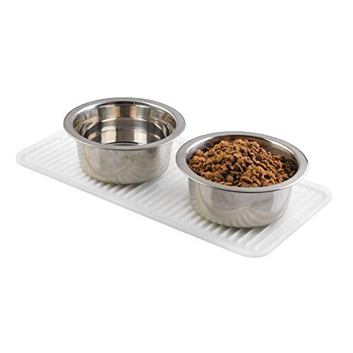 mDesign Premium Quality Pet Food and Water Bowl Feeding Mat for Cats and Kittens - Waterproof...