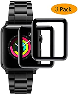【2枚セット】Apple Watch Series2/3 38MM ガラスフィルム【2019先端技術】Apple Watch Series2/3 38MM 強化ガラス保護フィルム 9Dラウンドエッジ加工 全面保護ガラスフィルム 液晶 画面 滑らか 感度 良好 完全な表面保護 9H硬度 耐衝撃 指紋防止 気泡レス 強化フィルム