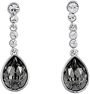Swarovski Elements White Gold Plated Dark Green Drop & Dangle Earring - SWR-121