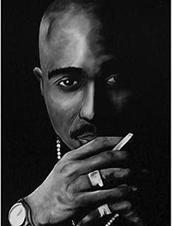 Buyartforless Tupac Shakurby Ed Capeau 10x8 Acrylic Art Painting Reproduction Canvas, Black