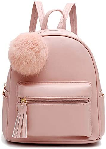 Mini Backpack Purse for Girls Teens Women Purses PU Leather Pom Backpack Shoulder Bag with Charm product image