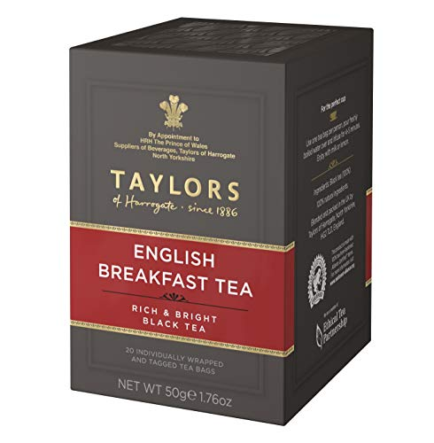 Taylors of Harrogate Tè Nero English Breakfast Ricco e Luminoso - 1 x 20 Bustine di Tè (50 Grammi)