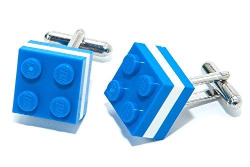Griechische Flagge echtem Lego Brick Manschettenknöpfe–Olympischen Fußball Sport Manschettenknöpfe hergestellt von Jeff Jeffers