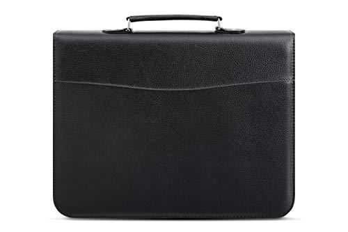 Arpan - Maletín de negocios, tamaño A4, asa con anillas, cierre con cremallera, cubierta acolchada, suave, color negro