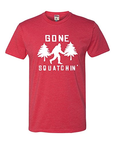 X-Large Red Adult Gone Squatchin' Gone Squatching Bigfoot Sasquatch Deluxe T-Shirt