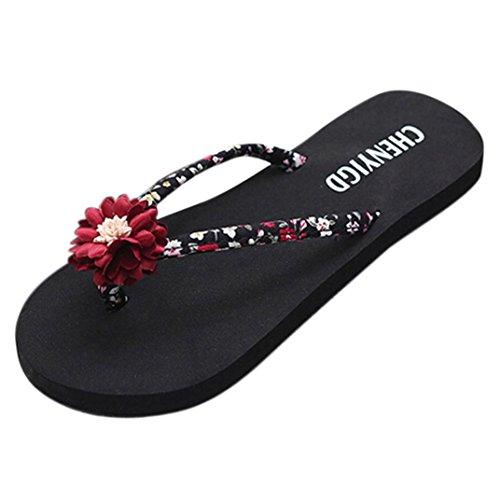 Ansenesna Sandalen Damen Blumen Flach Zehentrenner Offen Flip Flop Schuhe Mädchen Atmungsaktiv Outdoor Strand Sommerschuhe (40, Rot)