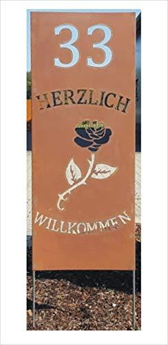 Jabo Design Rost Schild GA05 Wunsch - Hausnummer (Zahl) + HERZLICH WILLKOMMEN + Rose / 100 cm hoch (Höhe gemessen ohne die Stangen/Bodenstecker) rost Steele stecker gartenstecker