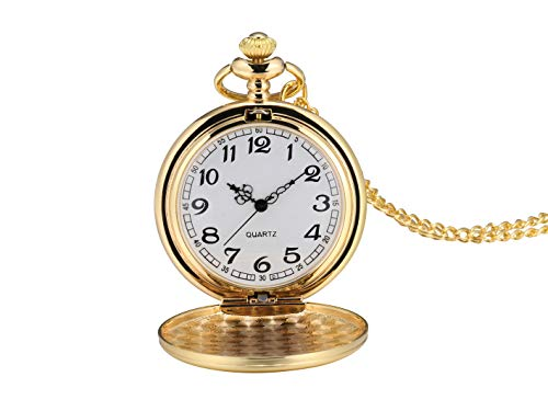 I-MART Smooth Vintage Pocket Watch with Chain (Gold)