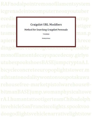 Craigslist - Casual Encounters, Method for Seeing the Ad First, 31 URL Modifiers (English Edition)