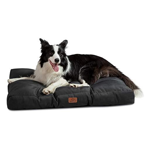 Bedsure Hundekissen Grosse Hunde waschebar - Hundebett Wasserdicht L für große, mittelgroße Hunde gepolstert Hundematte schwarz in 10cm Höhe, 90x68cm