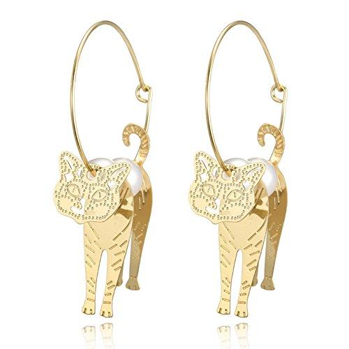 Amesii - Pendientes de gato hueco con perlas de imitación de lujo para mujer