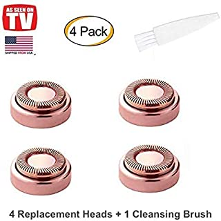 Facial Hair Remover Replacement Heads, STOUCH Hair Removal Blades For Women's Painless Epilator for Perfect Finishing and Smooth Touch, As Seen ON TV, Gold Rose, Count 4