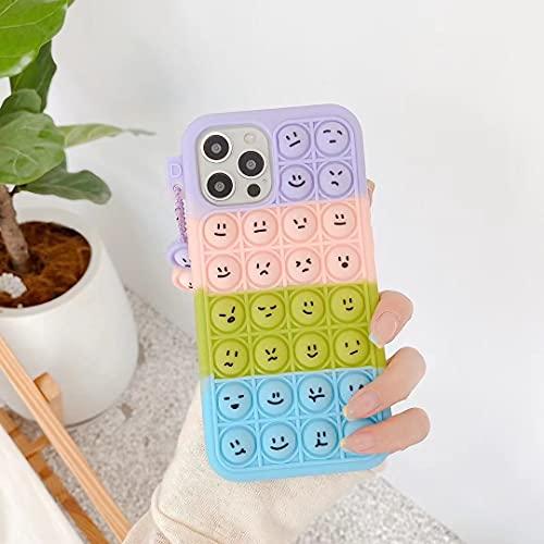 Silicone Case for iPhone 11 Pro 5.8' Cover, Soft Silicone Decompression Emoji Bubble Case,Children & Adults Soft Anti-Stress Full Body Protective Cover - Rainbow