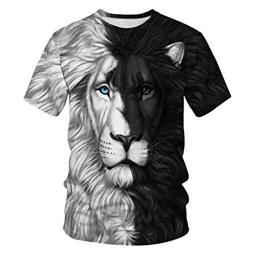 Leezeshaw Unisex-T-Shirt, Schwarz/Weiß, 3D, Sternenhimmel, Löwe, Wolf, Bedruckt, S-5XL Gr. M, löwe