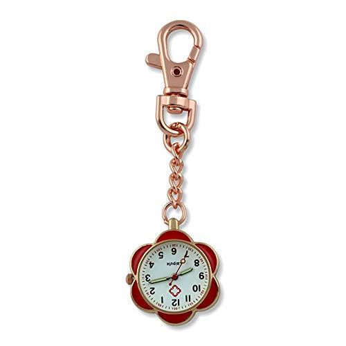 KJFB - Broche de reloj de enfermera para enfermera, diseño de esfera de acero inoxidable con clip para colgar relojes de bolsillo para mujer, reloj de bolsillo Sporter (color oro rosa y rojo