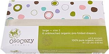 6-Piece OsoCozy 4x8x4 Organic Cotton Prefolds Traditional Fit