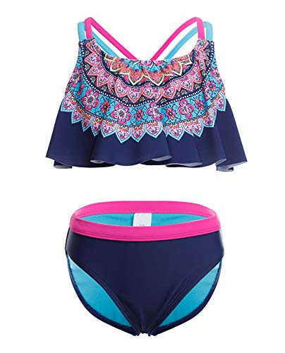iDrawl Mädchen Bademode Tankini Set UPF 50+ UV-Schutz Anzug,8-10 Jahre