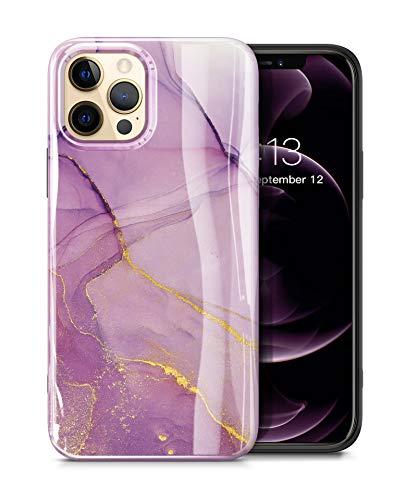 "GVIEWIN Aurora Lite Series Kompatibel mit iPhone 12 Pro Max Hülle 6,7""2020, Ultra dünn glänzend weich Silikon TPU Marmor Stoßfest Handyhülle Cover Schutzhülle, Romantisches Lila"