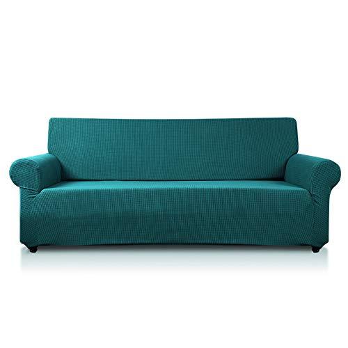PETCUTE Fundas de sofás sillones elástica sofá Protector Jacquard poliéster Tela Fundas sofá en Forma de L 2 plazas Verde Oscuro