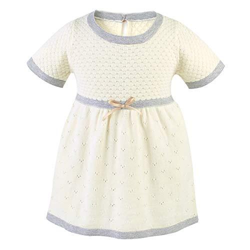 Tianhaik kleine kinderen meisjes jurken zachte korte mouwen katoen gebreid vrijetijdsjurk met een band bowknot in de taille
