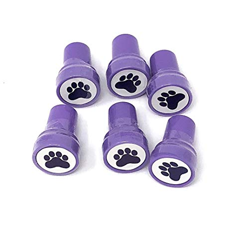 U.S. Toy Lot of 6 Purple Dog Puppy Paw Print Mini Stampers