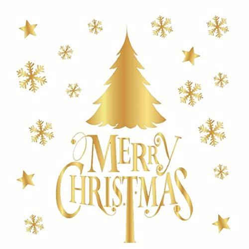 RngCarSticker Pegatinas navideñas para Ventanas, Pegatinas navideñas para Pared, 50x32 CM Adornos navideños Dorados Árbol de Navidad Dorado Copo de Nieve sin Pegamento Etiqueta estática