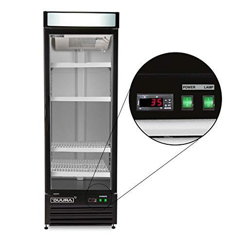 DUURA DGMB23R Stainless Steel 27-inch Single Glass Door Commercial Merchandiser Refrigerator with...