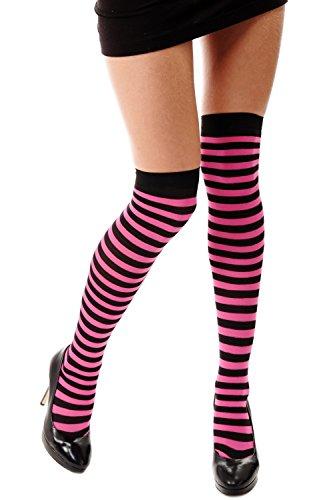 Dress Me Up - W-001E-br Strümpfe Damenstrümpfe Overknees Schwarz Pink gestreift Geringelt Ringelstrümpfe Karneval Punk Girly Z163