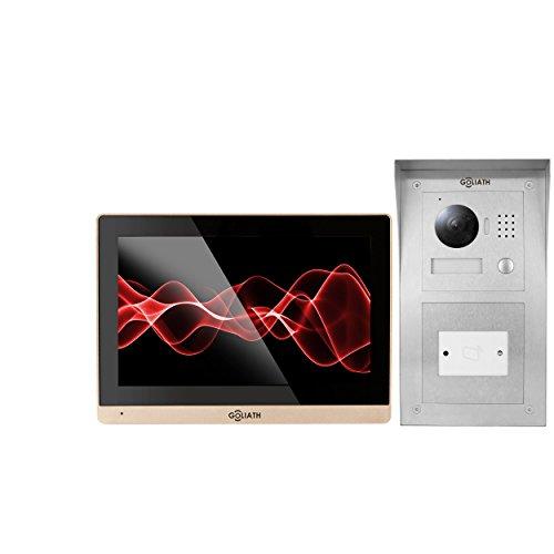GOLIATH IP 2 familienhaus Video Türsprechanlage, Unterputz RFID Türstation, Edelstahl, HD Kamera, App, Türöffner, Schlüsselloser Zugang, Video-Speicher, Set, AV-VTC168