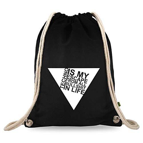 Turnbeutelliebe® Turnbeutel mit Spruch - Techno-Musik - Verschiedene Motive - Baumwolle schwarz - Sportbeutel - Rucksack - ca. 12 Liter - 37 x 46 cm (Techno is My Life Dreieck)